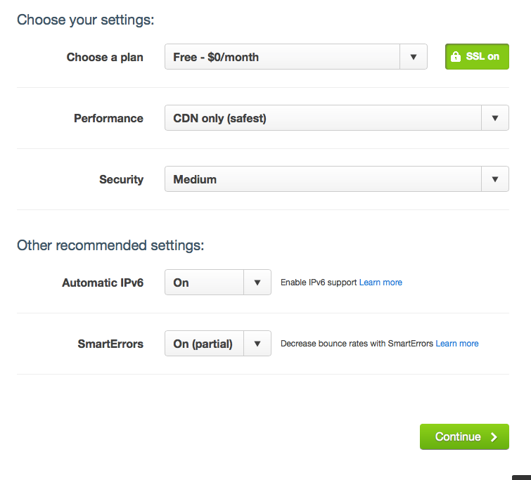 CloudFlare initial settings